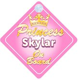 mybabyonboard UK Crown Princess Skylar On Board Personalised Baby / Child Girls Car Sign