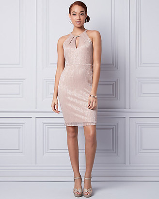 Le Château Metallic Knit Halter Dress