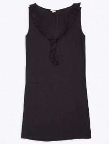 Bellerose Dark Navy House Jacquard Frill Dress - 10 - Blue
