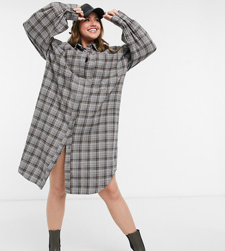 Collusion Plus longline brushed check shirt dress in grey