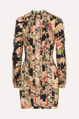 Zimmermann Espionage Lace-up Floral-print Stretch-silk Mini Dress - Black