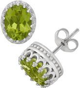 Tiara 2 2/5 CT TW Green Peridot Sterling Silver Stud Earrings