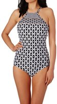 Seafolly Modern Geometry DD High Neck Maillot Swimsuit