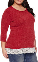 Asstd National Brand 3/4 Sleeve Scoop Neck Pullover Sweater-Plus Maternity