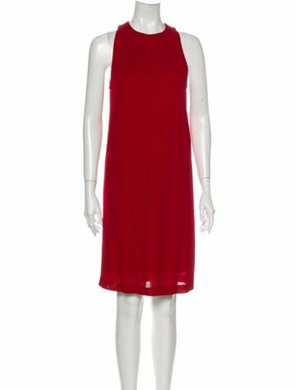 Hermes Crew Neck Knee-Length Dress Red