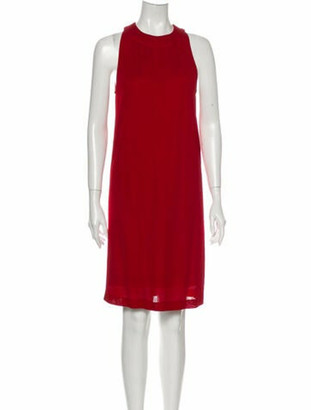 Hermes Crew Neck Knee-Length Dress Red