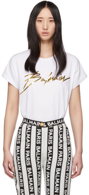 Balmain White and Gold Logo T-Shirt