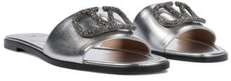 Valentino VLOGO embellished leather slides