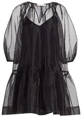 Jonathan Simkhai Everlee Organza Puff-Sleeve Mini Dress
