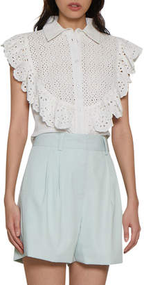 Walter Baker Dolores Crochet Lace Ruffle Top