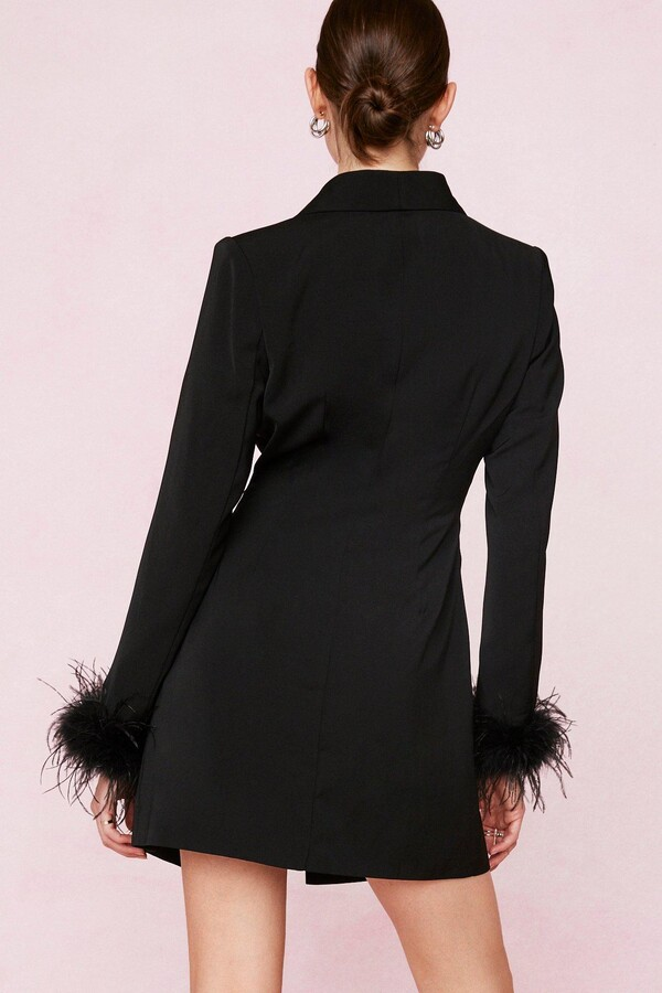 Thumbnail for your product : Nasty Gal Womens Bridal Feather Cuff Blazer Mini Dress - Black - 12