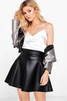 boohoo Petite Kelly Flippy Hem Wet Look Mini Skirt black