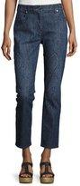 Etro Paisley Straight-Leg Ankle Jeans, Blue