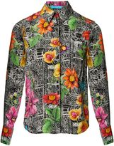 Matthew Williamson Botanical Tiwanaku Black Silk Shirt