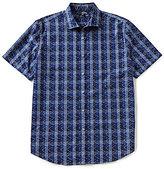 Murano Short-Sleeve Spread Collar Plaid Dash Sportshirt