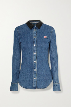 Alexander Wang Textured Leather-trimmed Denim Shirt - Mid denim