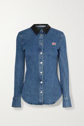 Alexander Wang Textured Leather-trimmed Denim Shirt - Mid denim