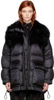 Sacai Black Down Fur Collar Jacket