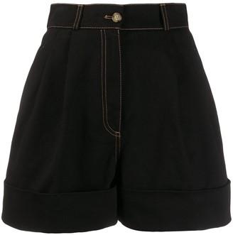 Miu Miu High-Waist Contrast Stitch Shorts