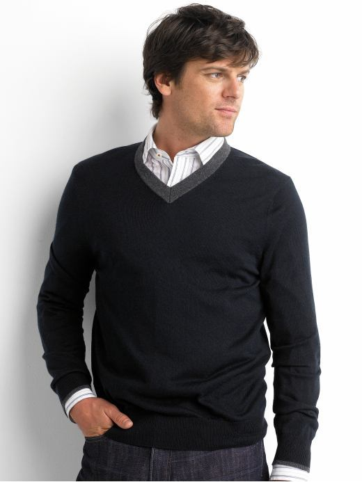 Banana Republic Silk/cotton/cashmere tipped v-neck sweater