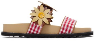 Fabrizio Viti Ingrid Floral-applique Gingham And Leather Slides - Red Multi