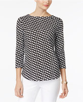 Charter Club Petite Cotton Printed Button-Shoulder Top, Only at Macy's