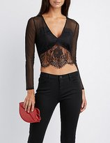 Charlotte Russe Lace & Mesh Crop Top