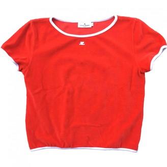 Courreges Red Velvet Top for Women Vintage