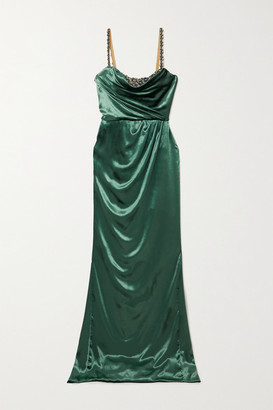 Marchesa Draped Crystal-embellished Velvet Gown - Green