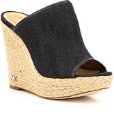 MICHAEL Michael Kors Hastings Denim Peep-Toe Jute Wrapped Wedge Mules