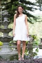 Handmade White Cotton Sleeveless Shift Dress, 'White Gardenia'
