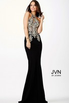 Jovani Halter Fitted Lace Black Dress JVN33691