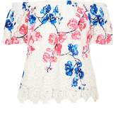 Quiz Blue And Pink Crochet Floral Bardot Top