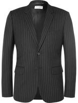 Saint Laurent Black Slim-Fit Leather-Trimmed Pinstriped Wool Blazer