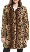 Via Spiga Women's Reversible Faux Leopard Fur Coat