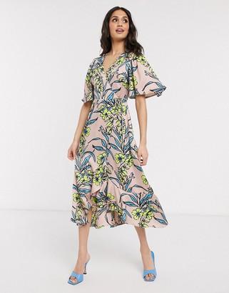 Liquorish wrap tie midi dress with frill hem in peach floral