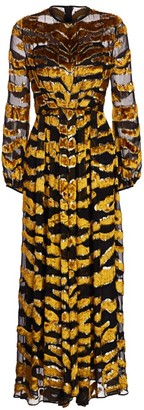 Adam Lippes Tiger-Stripe Burnout Gown