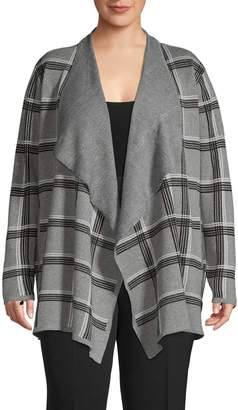 Jones New York Plus Plaid Draped Open-Front Cardigan