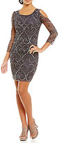 Pisarro Nights Petite Cold-Shoulder Beaded Sheath Dress