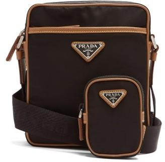 Prada Logo-patch Nylon Cross-body Bag - Black Brown