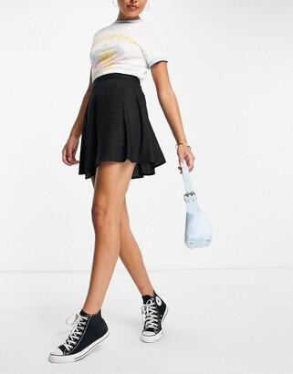 Monki Malina mini skater skirt in black