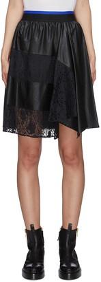 Koché Lace trim leather skirt