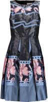 Peter Pilotto Helix pleated twill-paneled taffeta dress