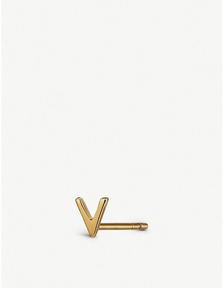 Selfridges Alphabet V 9ct gold stud earring