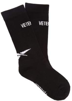 Vetements X Reebok Intarsia-logo Cotton-blend Socks - Mens - Black
