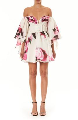 Carolina Herrera Floral Off the Shoulder Cape Silk Minidress