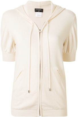 Chanel Pre Owned Cashmere Hooded Zipped Cardigan