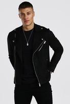 boohoo Mens Black Faux Suede Biker Jacket, Black