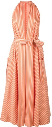 Sara Battaglia Plunge Neck Striped Dress