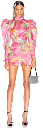 Alessandra Rich Floral Print Silk Organza Mock Neck Mini Dress in Pink | FWRD